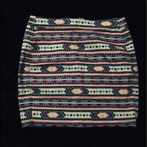Bright Detailed Mini Pencil Skirt